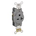 Leviton 5461-GY Double Pole Straight Blade Single Receptacle; Strap Mount, 250 Volt, 20 Amp, Gray