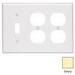 Leviton 80747-I 3-Gang Standard-Size Duplex Wallplate; Device Mount, Thermoplastic Nylon, Ivory
