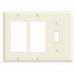 Leviton 80731-I Decora® 3-Gang Standard-Size Combination Wallplate; Device Mount, Thermoplastic Nylon, Ivory