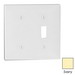 Leviton 80706-I Decora® 2-Gang Standard-Size Combination Wallplate; Box Mount, Thermoplastic Nylon, Ivory