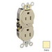 Leviton 5262-SI Double Pole Straight Blade Duplex Receptacle; Wall Mount, 125 Volt, 15 Amp, Ivory