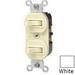 Leviton 5241-WS Duplex Style AC 3-Way Combination Switch; 1-Pole, 120/277 Volt AC, 15 Amp, White