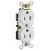 Leviton CR15S-GW Double Pole Straight Blade Duplex Receptacle; Wall Mount, 125 Volt, 15 Amp, White