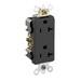 Leviton 16362-E Decora® Plus Double Pole Straight Blade Duplex Receptacle; Wall Mount, 125 Volt, 20 Amp, Black