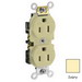 Leviton CR15S-GI Double Pole Straight Blade Duplex Receptacle; Wall Mount, 125 Volt, 15 Amp, Ivory