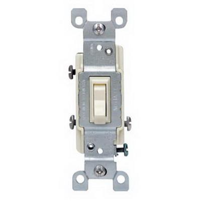 Leviton 1453-ICP AC Quiet 3-Way Framed Toggle Switch; 120 Volt AC, 15 Amp, Ivory