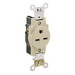 Leviton 5661-I Double Pole Straight Blade Single Receptacle; Wall Mount, 250 Volt, 15 Amp, Ivory