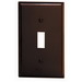 Leviton 85001 1-Gang Standard-Size Toggle Switch Wallplate; Device Mount, Thermoset Plastic, Brown