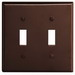 Leviton 85009 2-Gang Standard-Size Toggle Switch Wallplate; Device Mount, Thermoset Plastic, Brown