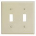 Leviton 86009 2-Gang Standard-Size Toggle Switch Wallplate; Device Mount, Thermoset Plastic, Ivory