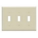 Leviton 86011 3-Gang Standard-Size Toggle Switch Wallplate; Device Mount, Thermoset Plastic, Ivory