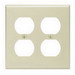 Leviton 86016 2-Gang Standard-Size Duplex Receptacle Wallplate; Device Mount, Thermoset Plastic, Ivory