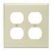 Leviton 86016 2-Gang Standard-Size Duplex Receptacle Wallplate; Device Mount, Thermoset Plastic, Ivory