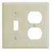 Leviton 86005 2-Gang Standard-Size Combination Wallplate; Device Mount, Thermoset Plastic, Ivory