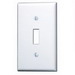 Leviton 88001 1-Gang Standard-Size Toggle Switch Wallplate; Device Mount, Thermoset Plastic, White