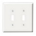 Leviton 88009 2-Gang Standard-Size Toggle Switch Wallplate; Device Mount, Thermoset Plastic, White
