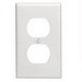 Leviton 88003 1-Gang Standard-Size Duplex Receptacle Wallplate; Device Mount, Thermoset Plastic, White