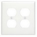 Leviton 88016 2-Gang Standard-Size Duplex Receptacle Wallplate; Device Mount, Thermoset Plastic, White