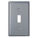 Leviton 84001 1-Gang Standard-Size Toggle Switch Wallplate; Device Mount, Stainless Steel, Silver