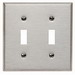 Leviton 84009 2-Gang Standard-Size Toggle Switch Wallplate; Device Mount, Stainless Steel, Silver