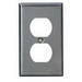 Leviton 84003 1-Gang Standard-Size Duplex Receptacle Wallplate; Device Mount, Stainless Steel, Silver
