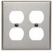 Leviton 84016 2-Gang Standard-Size Duplex Receptacle Wallplate; Device Mount, Stainless Steel, Silver