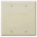 Leviton 86025 2-Gang Standard-Size No Device Blank Wallplate; Box Mount, Thermoset Plastic, Ivory