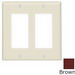 Leviton 80409 Decora® 2-Gang Standard-Size GFCI Decorator Wallplate; Device Mount, Thermoset Plastic, Brown