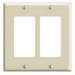 Leviton 80409-I Decora® 2-Gang Standard-Size GFCI Decorator Wallplate; Device Mount, Thermoset Plastic, Ivory