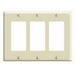Leviton 80411-I Decora® 3-Gang Standard-Size GFCI Decorator Wallplate; Device Mount, Thermoset Plastic, Ivory