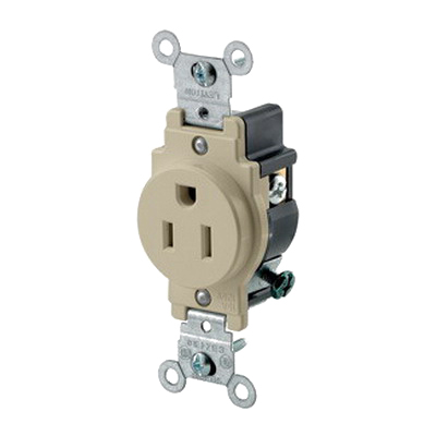 Leviton 5015-I Double Pole Straight Blade Single Receptacle; Wall Mount, 125 Volt, 15 Amp, Ivory