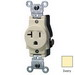Leviton 5801-I Double Pole Straight Blade Single Receptacle; Wall Mount, 125 Volt, 20 Amp, Ivory