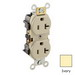 Leviton 5352-I Double Pole Straight Blade Duplex Receptacle; Wall Mount, 125 Volt, 20 Amp, Ivory