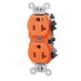 Leviton 5362-IG Double Pole Isolated Ground Straight Blade Duplex Receptacle; Wall Mount, 125 Volt, 20 Amp, Orange
