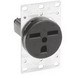 Leviton 5372 Double Pole Straight Blade Receptacle; Flush Mount, 250 Volt, 30 Amp, Black