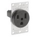 Leviton 5374 Double Pole Straight Blade Receptacle; Flush Mount, 250 Volt, 50 Amp, Black