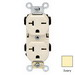 Leviton 5824-I Double Pole Straight Blade Duplex Receptacle; Wall Mount, 250 Volt, 20 Amp, Ivory