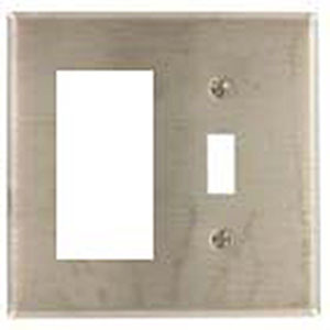 Mulberry 97432 2-Gang Standard-Size Combination Wallplate; Stainless Steel, Silver
