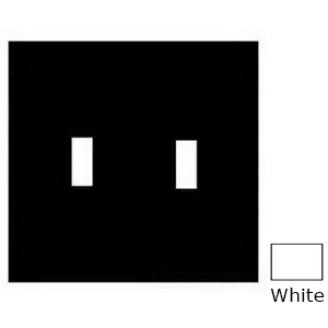 Mulberry 86072 2-Gang Standard-Size Toggle Switch Wallplate; Device Mount, Painted Steel, White
