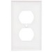 Mulberry 86101 1-Gang Duplex Receptacle Wallplate; Stainless Steel, White