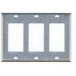 Mulberry 97403 3-Gang Standard-Size GFI Decorator Plate; Device Mount, Stainless Steel, Silver