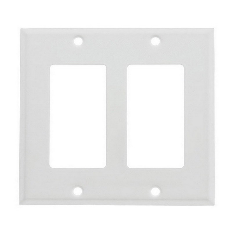 Mulberry 86402 2-Gang Standard-Size GFI Decorator Plate; Device Mount, Stainless Steel, White