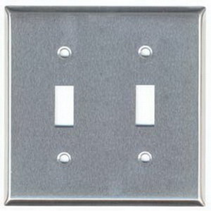 Mulberry 97072 2-Gang Standard-Size Toggle Switch Wallplate; Device Mount, Stainless Steel, Silver