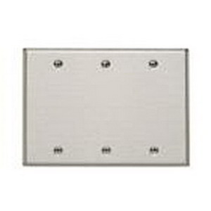 Mulberry 97153 3-Gang Blank Wallplate; Box Mount, Stainless Steel, Silver