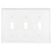 Mulberry 86073 3-Gang Standard-Size Toggle Switch Wallplate; Painted Steel, White