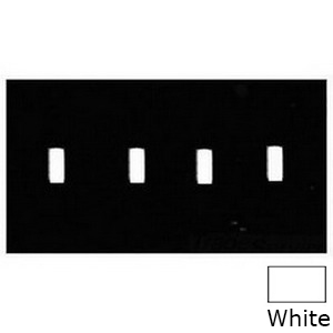 Mulberry 86074 4-Gang Standard-Size Toggle Switch Wallplate; Painted Steel, White