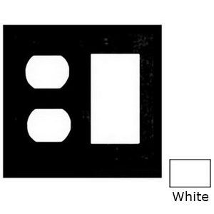 Mulberry 86672 2-Gang Standard-Size Combination Wallplate; Cold Rolled Steel, White