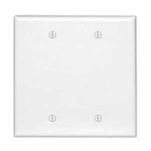 Mulberry 86152 2-Gang Standard-Size Blank Wallplate; Box Mount, Stainless Steel, White
