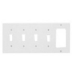 Mulberry 90465 Endura™ 5-Gang Standard-Size Combination Wallplate; Thermoplastic, White