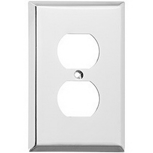 Mulberry 97101 1-Gang Standard-Size Duplex Receptacle Plate; Screw Mount, Stainless Steel, Silver